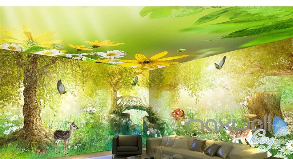 Fairy tale forest deer butterfly entire kids room wallpaper 3D wall