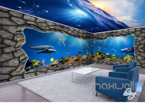 Underwater sea world 3D entire room wallpaper wall mural decal IDCQW-000057