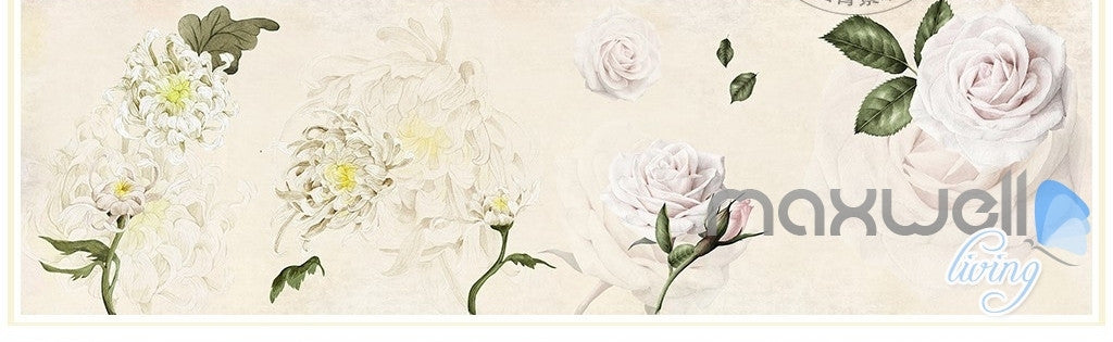 Simple and stylish Satin hand-painted flowers Chrysanthemum Rose entire room wallpaper wall mural decal IDCQW-000063