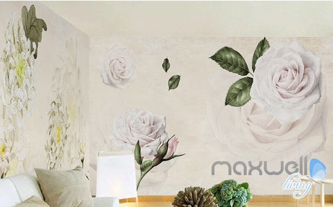 Image of Simple and stylish Satin hand-painted flowers Chrysanthemum Rose entire room wallpaper wall mural decal IDCQW-000063