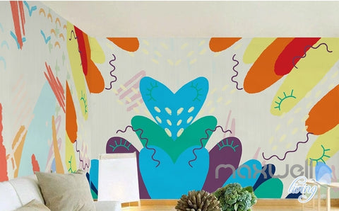 Image of Modern simple hand painted abstract graffiti children house entire room wallpaper wall mural decal IDCQW-000065