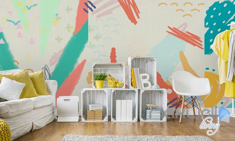 Watercolor abstract pattern simple simple graffiti children entire room wallpaper wall mural decal IDCQW-000066