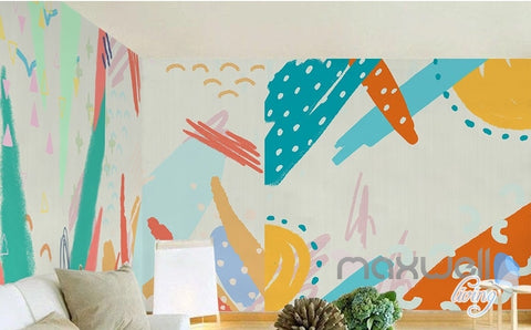 Image of Watercolor abstract pattern simple simple graffiti children entire room wallpaper wall mural decal IDCQW-000066