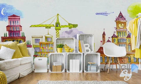 Cartoon Hand Painted Castle Ferris Wheel Amusement Park Kids Room Entire Room  Wallpaper Wall Mural Decal Part 87