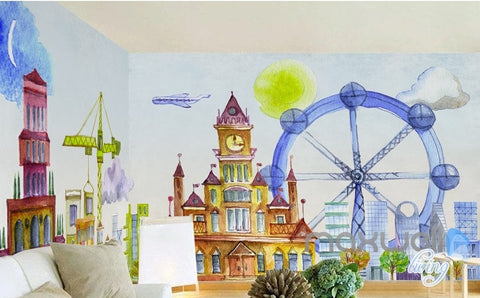 Cartoon hand painted castle Ferris Wheel Amusement Park Kids Room entire room wallpaper wall mural decal IDCQW-000067