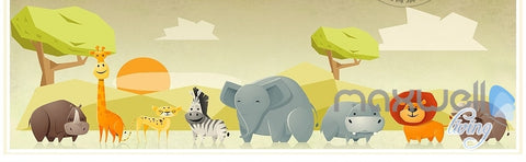 Image of Zoo cartoon animal safari nature entire kids room wallpaper wall mural decal IDCQW-000069