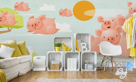 Image of Sunny pig flying fresh nature abstract tree entire room wallpaper wall mural decal IDCQW-000070