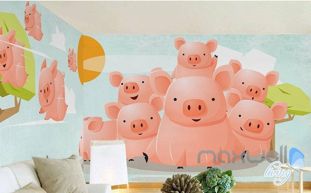 Sunny pig flying fresh nature abstract tree entire room wallpaper wall mural decal IDCQW-000070