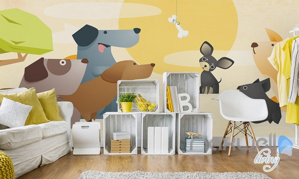 Beautiful Cartoon Pet Dog Meat Bones Sunrise Entire Kids Room Wallpaper Wall Mural Decal Art Print Idcqw