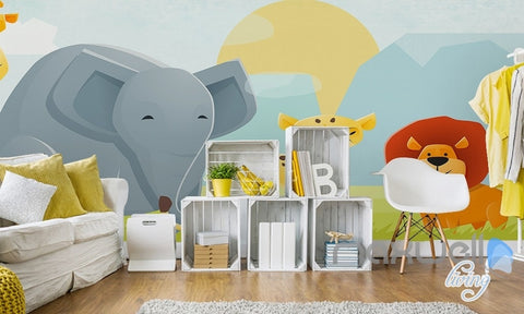 Image of Cartoon elephant lion nature flora entire kids room wallpaper wall mural decals Child Care IDCQW-000074