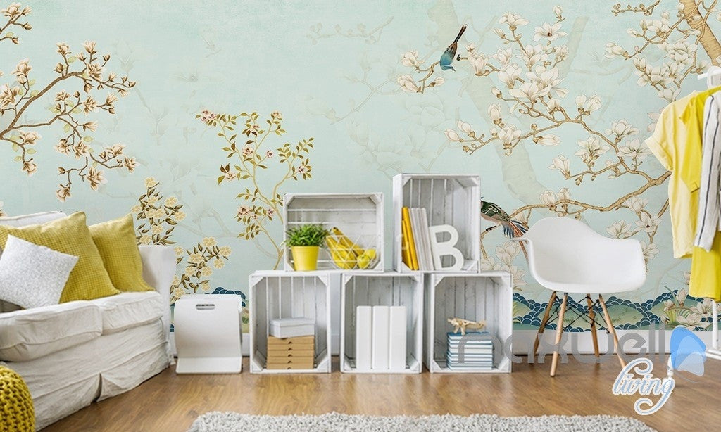 Chinese Classical Flower Bird Pattern Magnolia Entire Room
