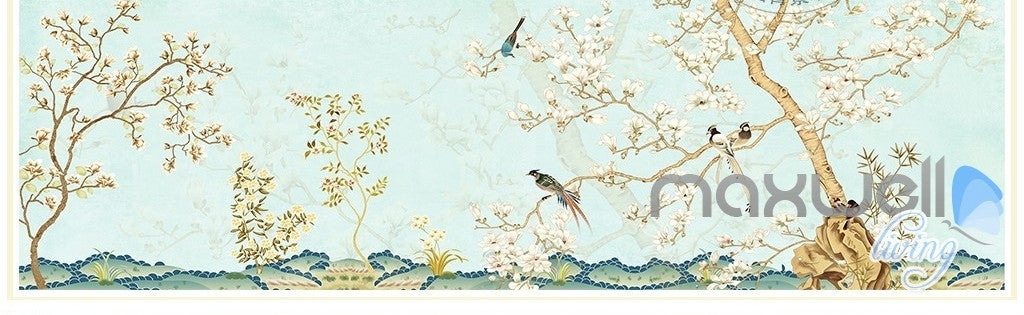Chinese Classical Flower Bird Pattern Magnolia entire room wallpaper wall mural decals Business Art Print  IDCQW-000077
