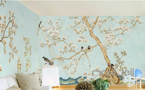 Image of Chinese Classical Flower Bird Pattern Magnolia entire room wallpaper wall mural decals Business Art Print  IDCQW-000077
