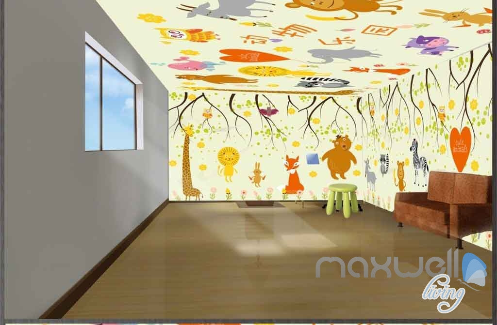 Cartoon Animal Safari Giraffe Monkey Entire Room Wallpaper Wall Murals Art Print IDCQW-000079