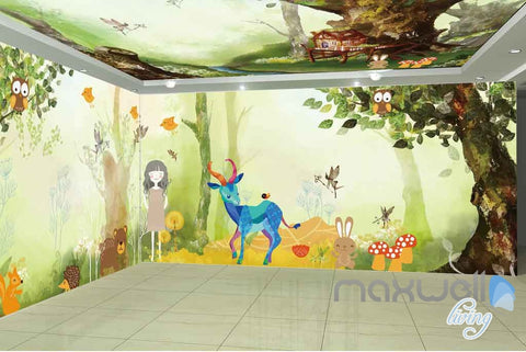 Tree House Animals Entire Room Wallpaper Wall Murals Art Print Childcare Decals IDCQW-000080