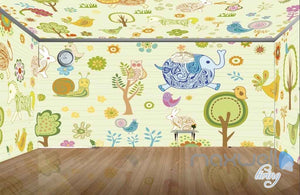 Owl Tree Elephant Rabit Entire Room Wallpaper Wall Murals Art Print Kids Decor IDCQW-000081