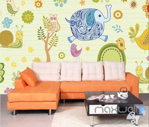 Image of Owl Tree Elephant Rabit Entire Room Wallpaper Wall Murals Art Print Kids Decor IDCQW-000081