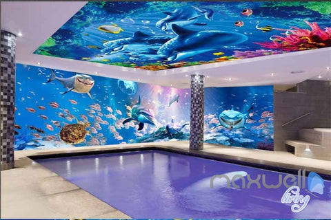 Image of Sea life Dophins Shaks Fish Coral Entire Room 3D Wallpaper Wall Murals Art Print IDCQW-000082
