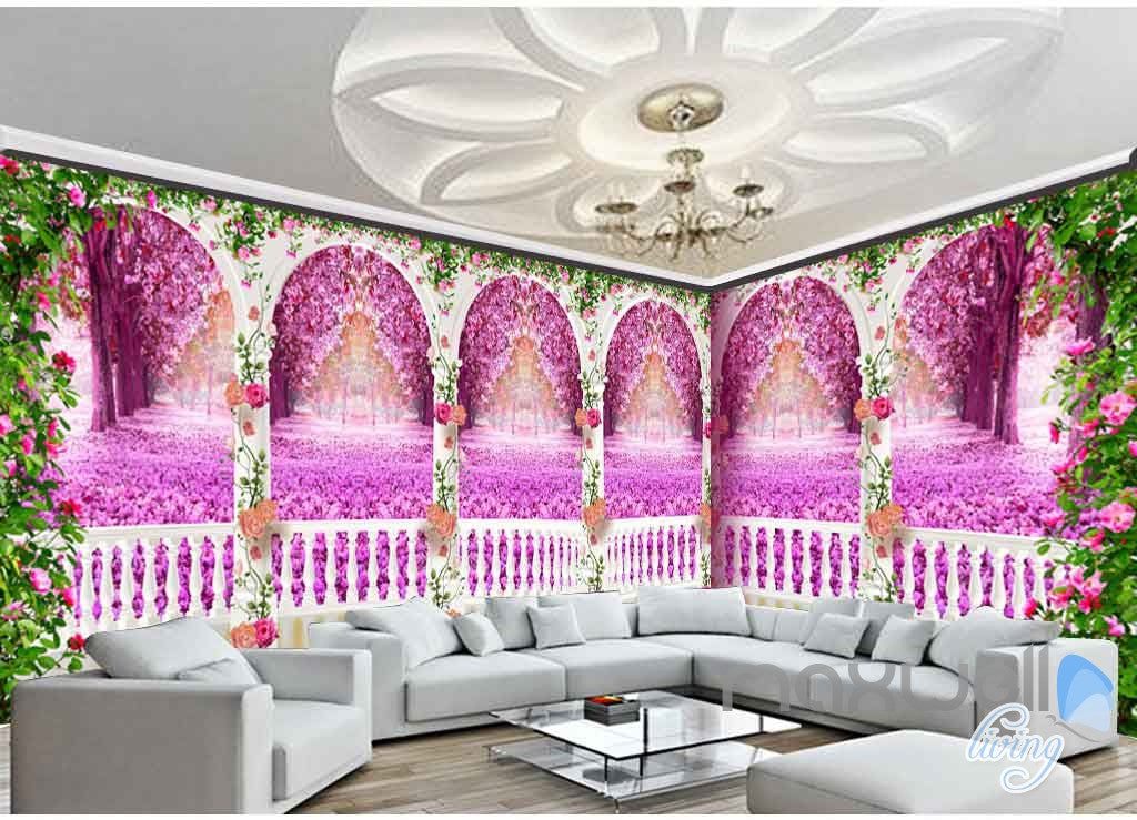 3D Rose Vine Arch Entire Room 3D Wallpaper Wall Murals Art Print Wedding Decor IDCQW-000083