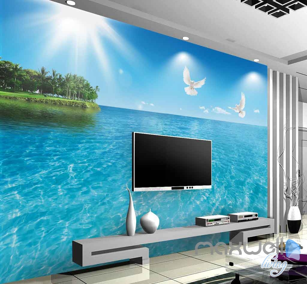 3D Dophins Jumping Sea Yacht Entire Room Wallpaper Wall Murals Art Prints IDCQW-000084