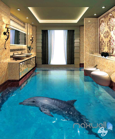 Image of 3D Dophins Jumping Sea Yacht Entire Room Wallpaper Wall Murals Art Prints IDCQW-000084