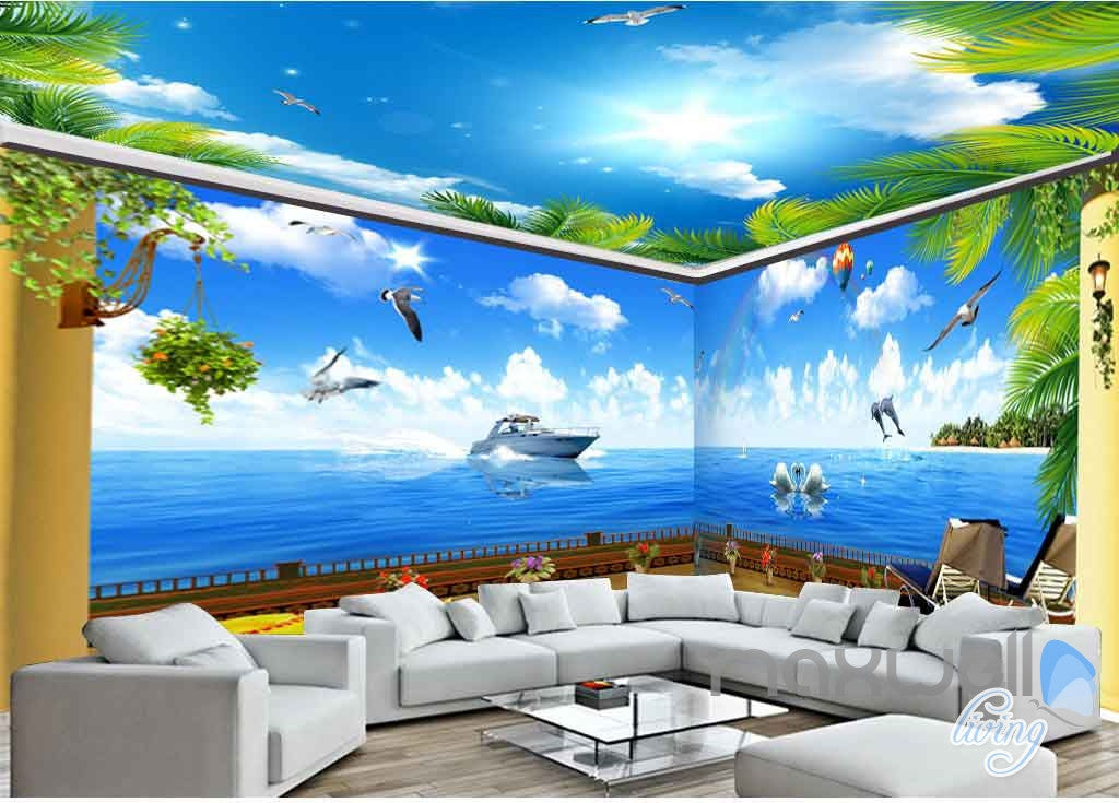 3D Palm Tree Sky Swan Entire Room Wallpaper Wall Murals Art Prints IDCQW-000086