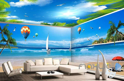 Image of 3D Palm Tree Resort Hot Air Balloon Entire Room Wallpaper Wall Murals Art Prints IDCQW-000087