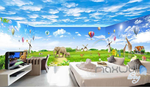 Image of 3D Animals Windwill Elephant Giraffe Clouds Entire Room Wallpaper Wall Murals Art Prints IDCQW-000088