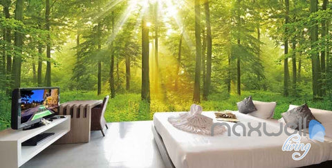 Image of 3D Forest Tree Sun Beam Entire Room Wallpaper Wall Murals Art Prints IDCQW-000089