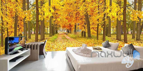 Image of 3D Autumn Yellow Forest Tree Entire Room Wallpaper Wall Murals Art Prints IDCQW-000090