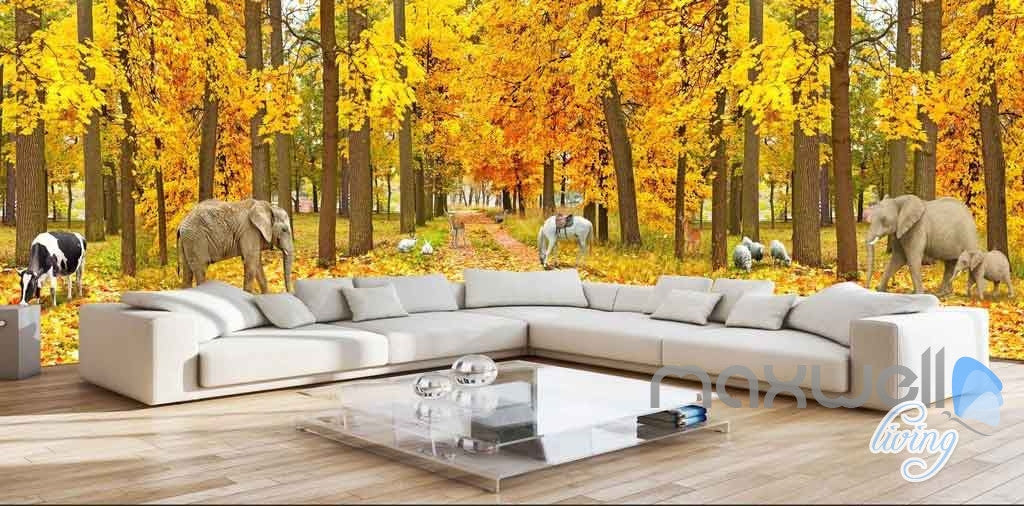 3D Autumn Yellow Forest Tree Entire Room Wallpaper Wall Murals Art Prints IDCQW-000090