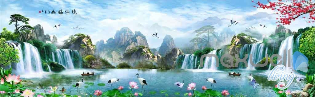 Lotus Mountain Tree Waterfall Entire Room Wallpaper Wall Murals Art Prints IDCQW-000092
