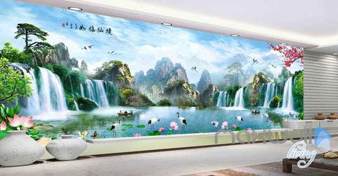 Image of Lotus Mountain Tree Waterfall Entire Room Wallpaper Wall Murals Art Prints IDCQW-000092