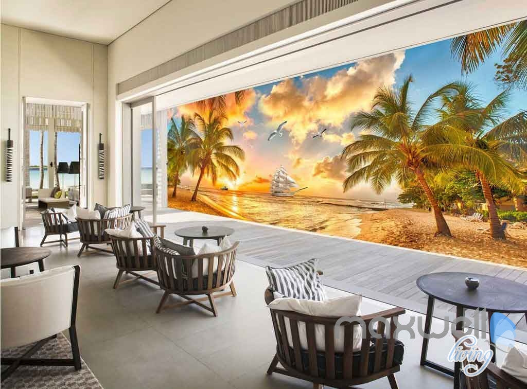 3D Palm Tree Island Sunset Entire Room Wallpaper Wall Mural Art Prints IDCQW-000093