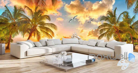 Image of 3D Palm Tree Island Sunset Entire Room Wallpaper Wall Mural Art Prints IDCQW-000093