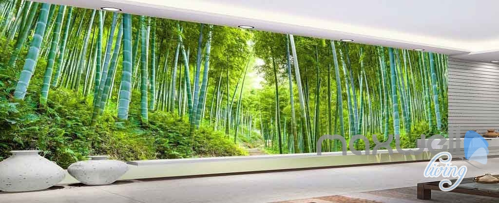 3d bamboo forest entire room wallpaper wall mural art for Bamboo forest wall mural wallpaper