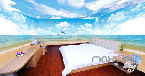 3D Beach Penguin Dophin Jump Entire Room Wallpaper Wall Mural Art Prints  IDCQW 000095 Part 53