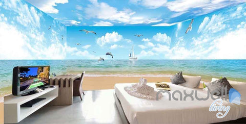Image of 3D Beach Penguin Dophin Jump Entire Room Wallpaper Wall Mural Art Prints IDCQW-000095