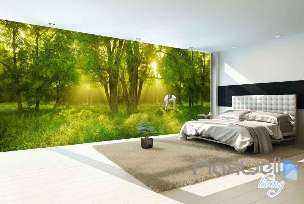 3D Large Tree Forest Horse Entire Room Wallpaper Wall Murals Art