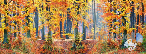 Image of 3D Orange Yellow Forest Autumn Entire Room Wallpaper Wall Murals Art Print IDCQW-000097