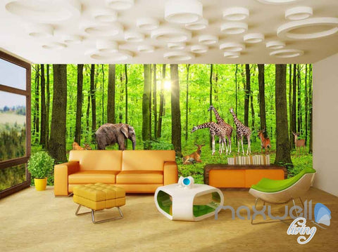 3D Forest Animals Entire Room Wallpaper Wall Murals Art Prints IDCQW-000098