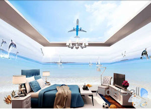 3D Beach Shell Plane Ceiling Entire Room Wallpaper Wall Murals Art Prints IDCQW-000099