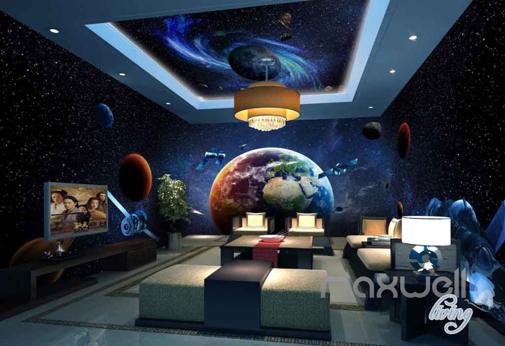 3D Earth Planets Satellite Universe Entire Room Wallpaper Wall ...