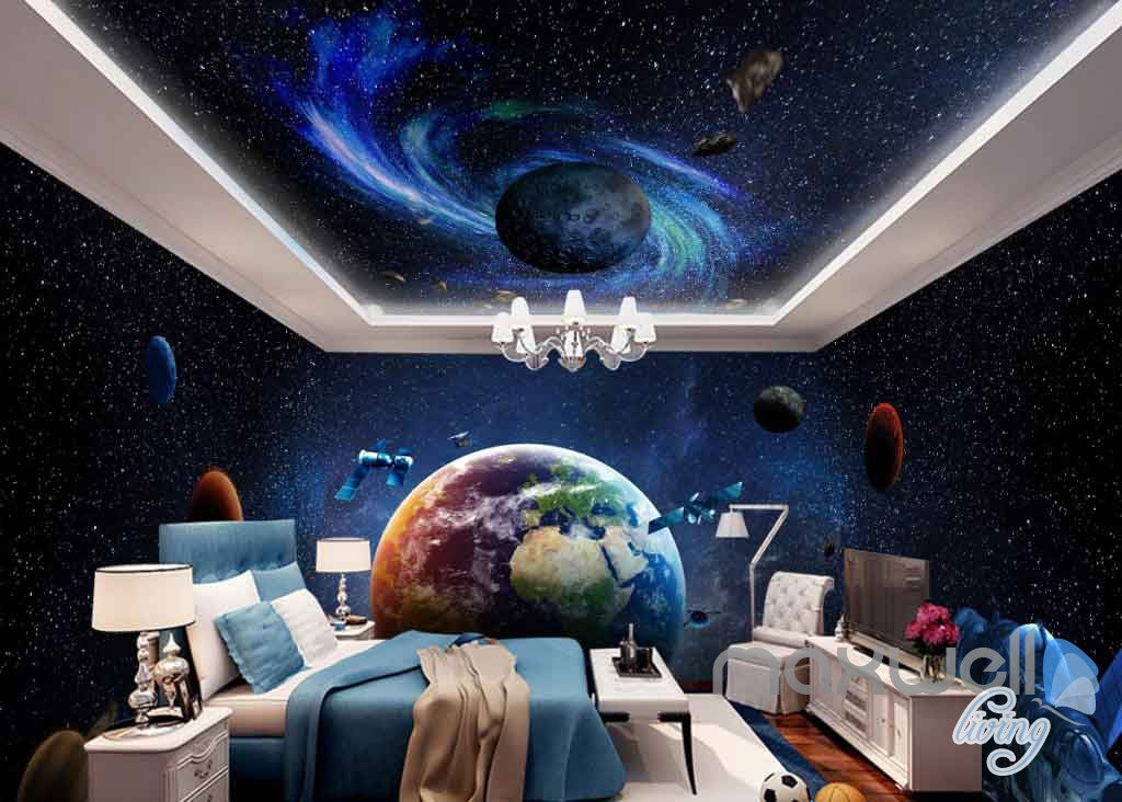 3D Earth Planets Satellite Universe Entire Room Wallpaper Wall Murals Art Prints  IDCQW-000100