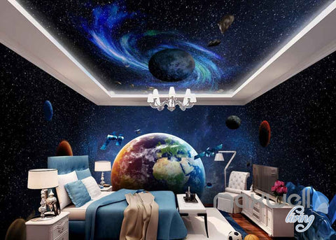 Image of 3D Earth Planets Satellite Universe Entire Room Wallpaper Wall Murals Art Prints  IDCQW-000100