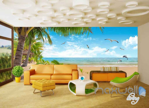 Image of 3D Palm Tree Island Seagull Entire Room Wallpaper Wall Murals Art Prints IDCQW-000101