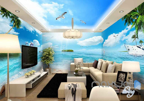 3D Ocean Tropical Island Entire Room Wallpaper Wall Murals Art Prints  IDCQW-000102