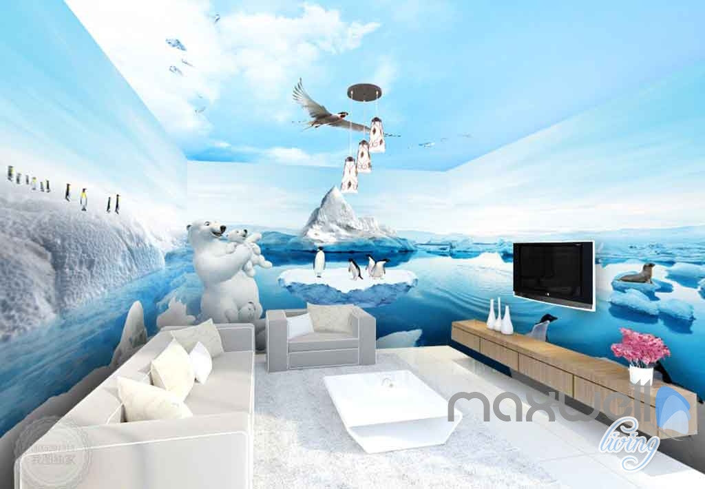 3D Polar Bear Family Penguins Entire Room Wallpaper Wall Murals Prints IDCQW-000103