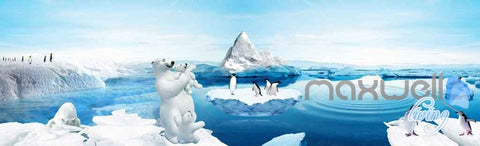 Image of 3D Polar Bear Family Penguins Entire Room Wallpaper Wall Murals Prints IDCQW-000103