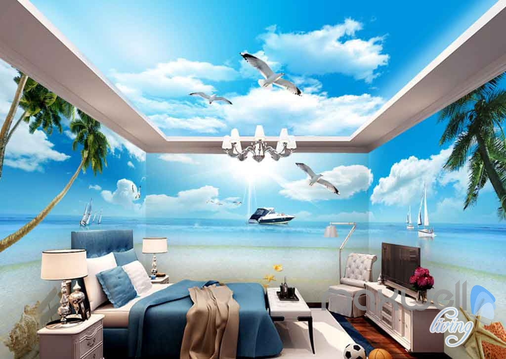 3D Yacht Seagull Shell Beach Entire Room Wallpaper Wall Murals Prints IDCQW-000104